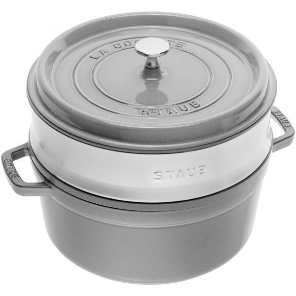 Staub Cast Iron Round Cocotte with Steamer 26 cm Graphite Grey