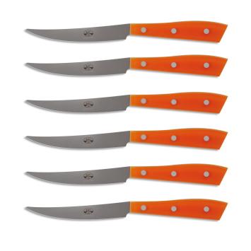 Berti Set 6 coltelli Compendio plexiglass arancio