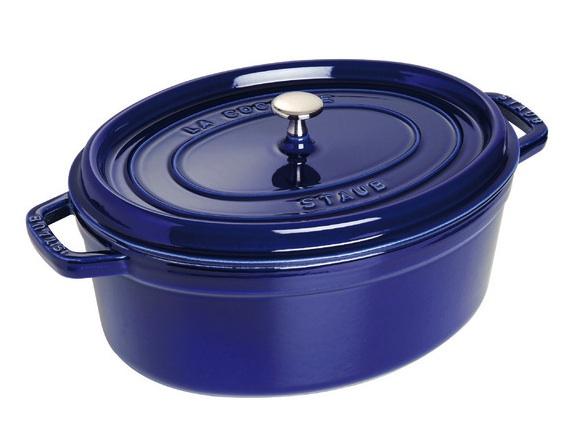 Staub Cast Iron Oval Cocotte 31 cm Blue