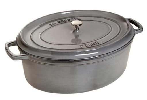 Staub Cast Iron Oval Cocotte 33 cm Graphite Grey