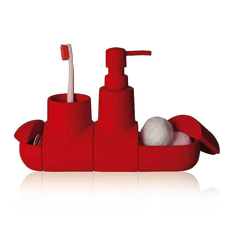 Seletti Wc Royale.Seletti Set Bathroom Accessories Submarino Red