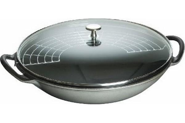 Staub Cast Iron Wok with Glass Lid 37 cm Graphite Grey
