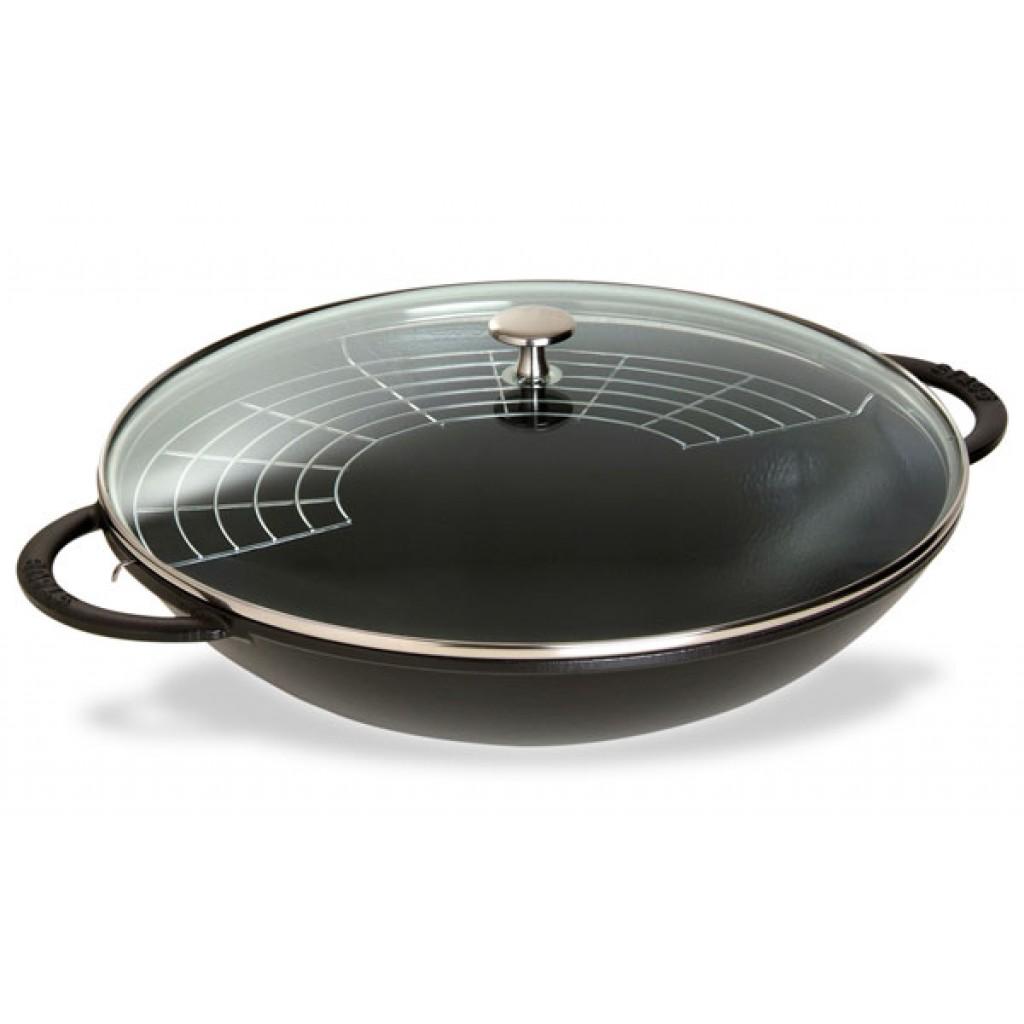 Staub Wok mit Glassdeckel 37 cm Schwarz