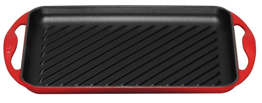 Le Creuset - Griglia in ghisa rettangolare rosso ciliegia 32,5 x 22 cm