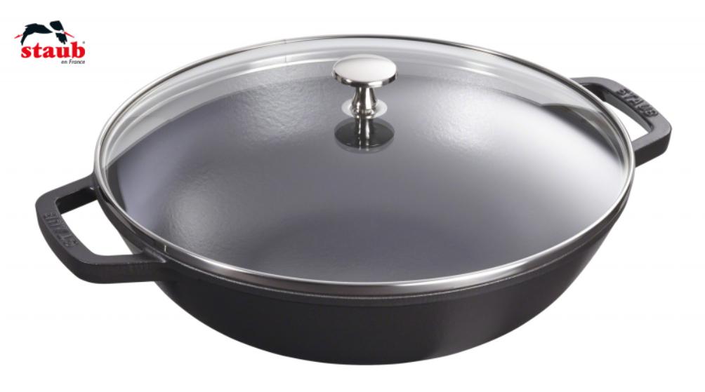 Staub Wok mit Glassdeckel 30 cm Schwarz