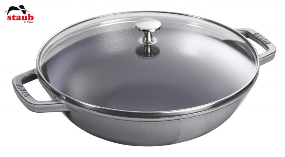 Staub Wok mit Glassdeckel 30 cm Graphit-Grau