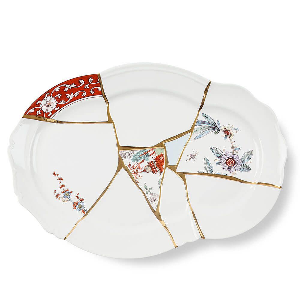 Seletti - KINTSUGI - Vassoio in porcellana cm 42,5 x 29,5