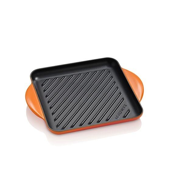 LE CREUSET Quadratischer Grill aus Gusseisen 24 x 24 cm Ofenrot