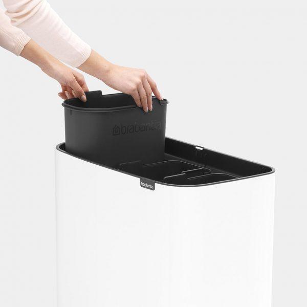 BRABANTIA Pattumiera Bo Touch Bin 3 Secchi 11+11+11 L Bianco Aperta