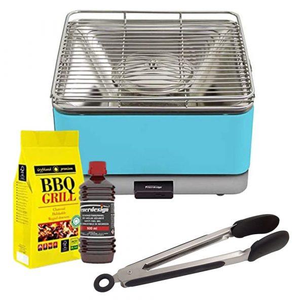 FEUERDESIGN Teide Barbecue Grill Azzurro Carbonella Gel