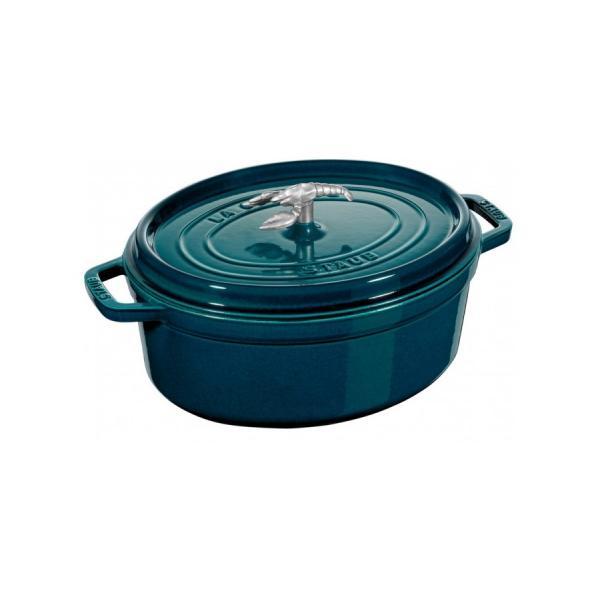 Staub - Oval Cast Iron Cocotte Blue La Mer 37cm Lobster Knob
