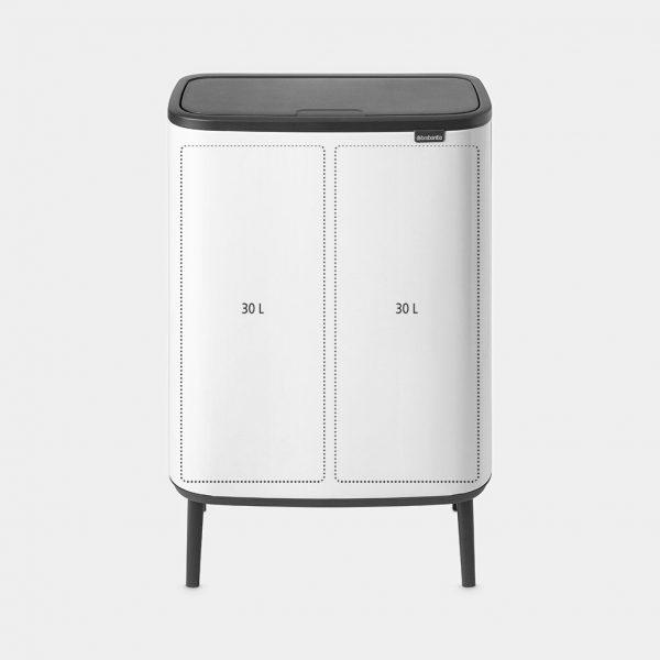 BRABANTIA Mülleimer Bo Touch Bin Hi 2 Eimer 2 x 30 L Weiß