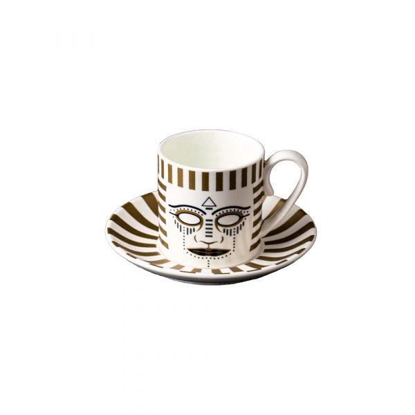 MANIFATTURA DI VENEZIA Ethnics Coffee Cup with Saucer Pi-atum